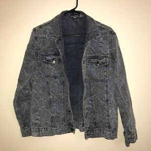 💝CHICOS Floral Denim Jacket Gray and Blue size 1